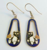 Cloisonne Enamel Panda Bear Drop Earrings.